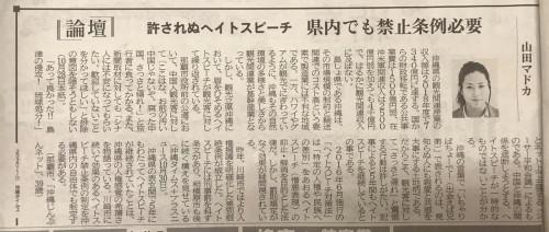 提案②沖縄の観光を守る為にもヘイトスピーチ条例(人権問題)