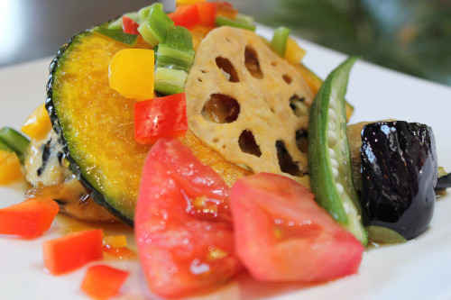ランチ 豆腐ハンバーグ 夏野菜ソースIMG_2370.JPG