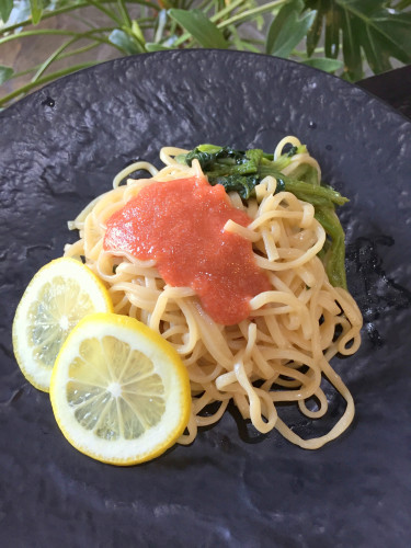 バター醤油味の明太パスタ レモン添えIMG_5603.JPG