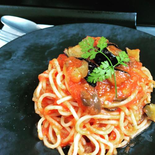 トマトとナスのパスタ.JPG