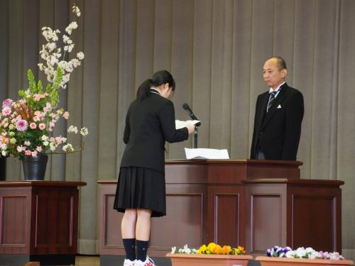 第72回大柿高校入学式(新入生代表)