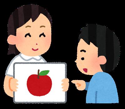 りんご絵に指さしイメージ