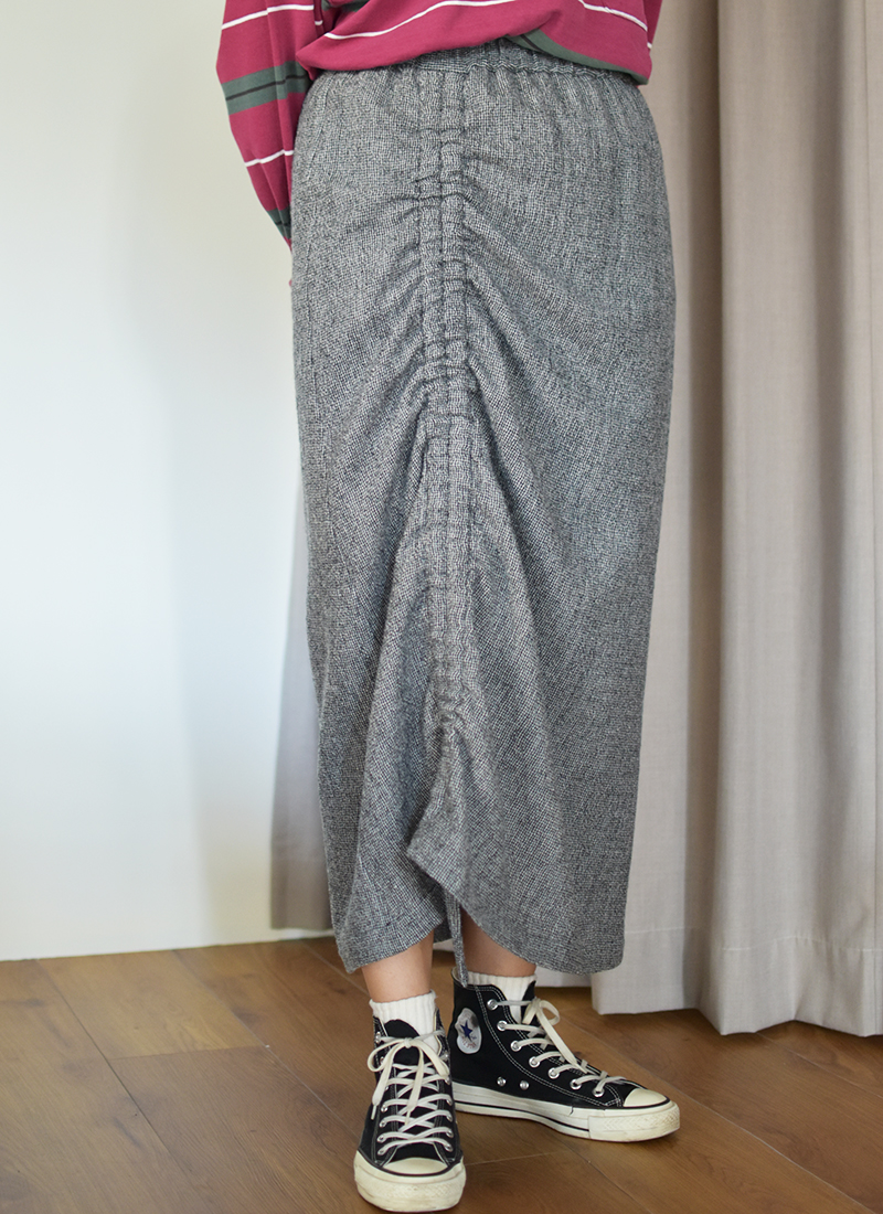 Wool Shirring Skirt