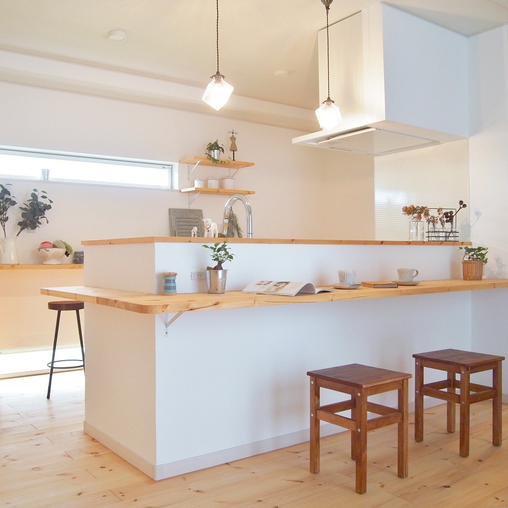かわいい家の施工例写真 愛知県一宮市 河江工務店「ナチュラル素材に包まれたカフェのような家」