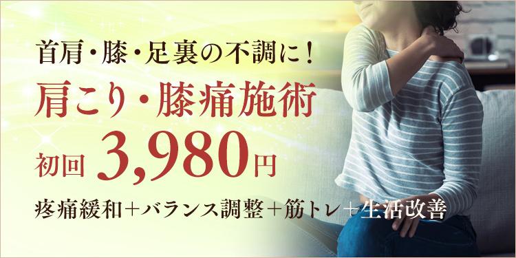 本気の肩こり・膝痛施術 初回2,980円 四十肩・五十肩改善