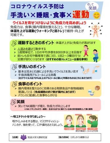 【ひがしかぐら健康くらぶ】コロナウイルス予防は手洗い睡眠・食事運動20200309.jpg