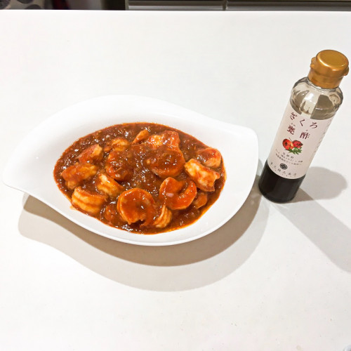ザクロ甕酢レシピ『エビチリ』20200823-7h.jpg