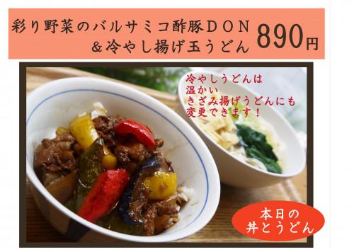 彩り野菜のバルサミコ酢豚DON&冷やしうどん.jpg