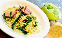 ●合鴨パストラミと水菜のペペロンチーノ.jpg