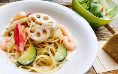 ●海老と彩り野菜のナンプラー風味ココナッツミルクスパゲティ.jpg