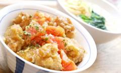 ●鶏唐揚げとトマトのとろとろ卵あんかけDON&うどん.JPG