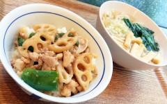 ●鶏挽き肉とレンコンの味噌炒めDON&うどん.jpg