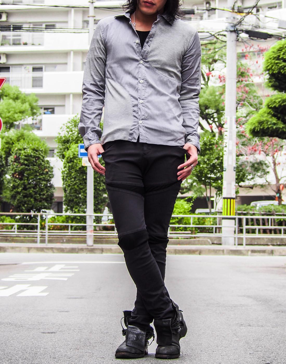 ストレッチグレーシャツとバイカーパンツ7.jpg