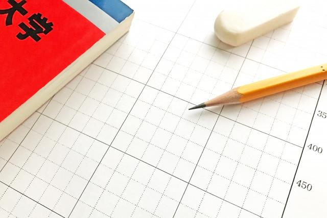 点数を記入する用紙と赤本