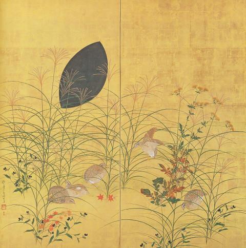 酒井抱一の'秋草鶉図屏風'(19世紀 山種美).jpg