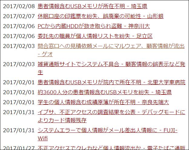 情報漏洩事故の時系列表示。毎日のように情報漏洩が起きていることがわかる画像