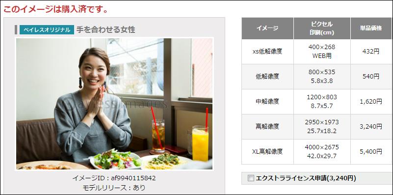 ペイレスイメージズの写真購入画面の画像抜粋。写真サイズの例示として表示した