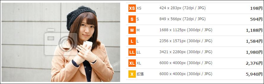 stock.fotoの写真購入画面の画像抜粋。写真サイズの例示として表示した