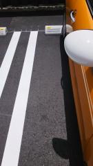 駐車スペースに駐めたオレンジ色の車