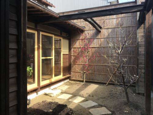 車庫から中庭.JPG