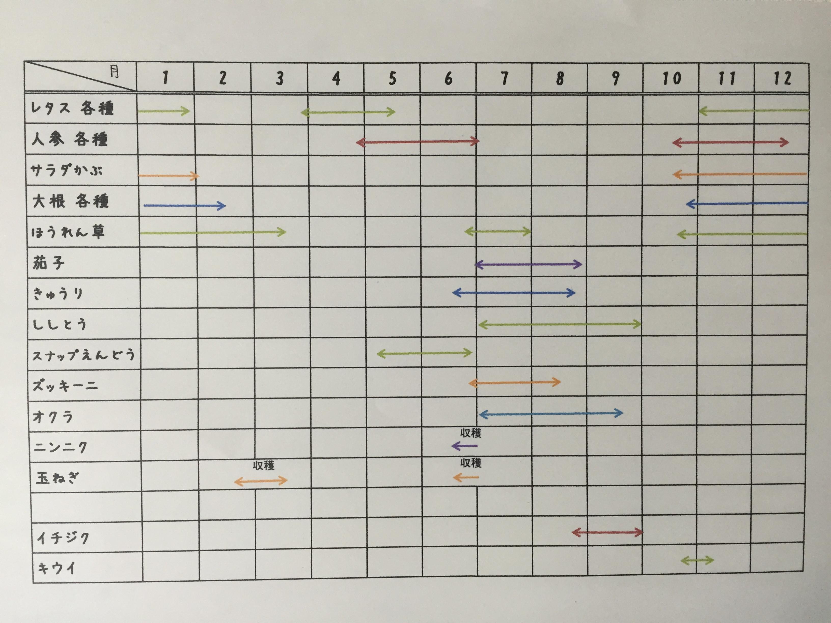 野菜・果物の年間計画表(予定) - 松阪菜果〈サラダ野菜 栽培してます〉