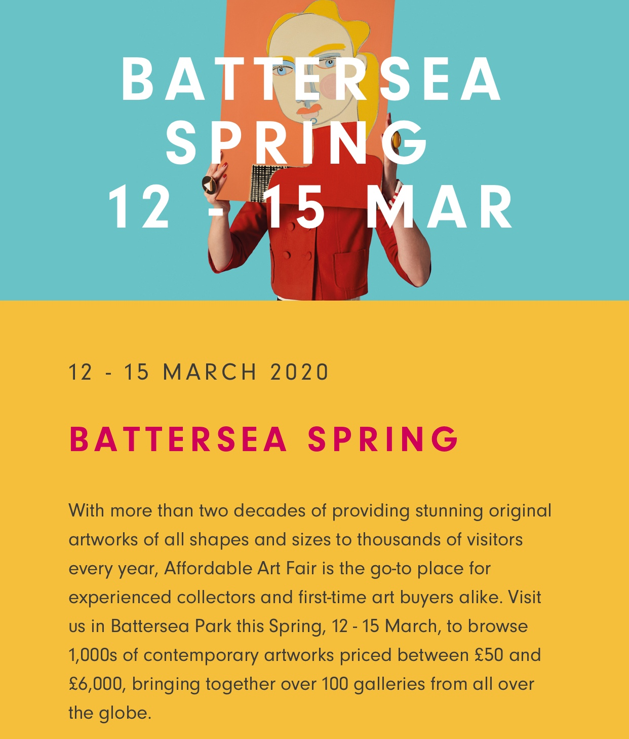 Affordable art fair Battersea 11-15 March 2020