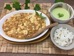 大豆ミートの麻婆豆腐&枝豆と玉ねぎのもちきびポタージュ.JPG