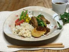 髙野豆腐ともちきびのハンバーグ&車麩とピーマン茄子のジンジャー炒め.JPG