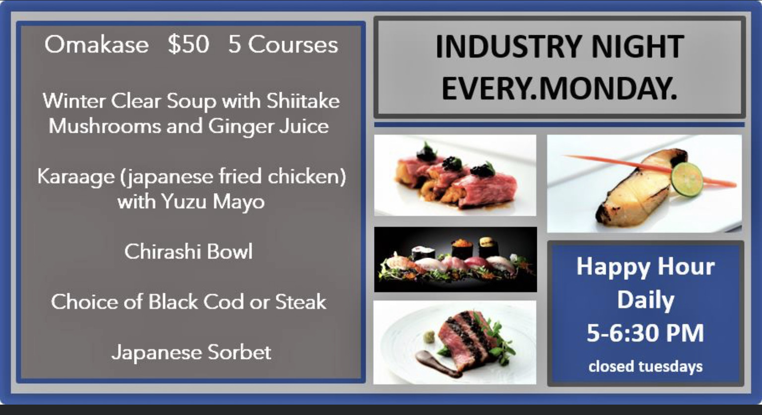 Industry Night  Omakase $50