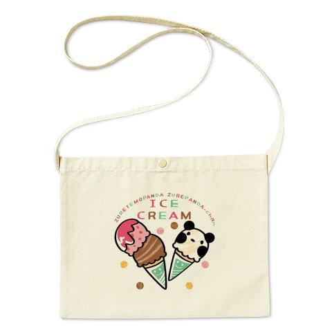 バッグ エコバッグ マイバッグ ショルダーバッグ サコッシュ  パンダ ズレぱんだ アイス アイスクリーム ICE  CREAM