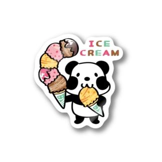 ステッカー パンダ ぱんだ ズレちゃん アイス アイスクリーム ICE ICECREAM キャラクター オリジナル suziri
