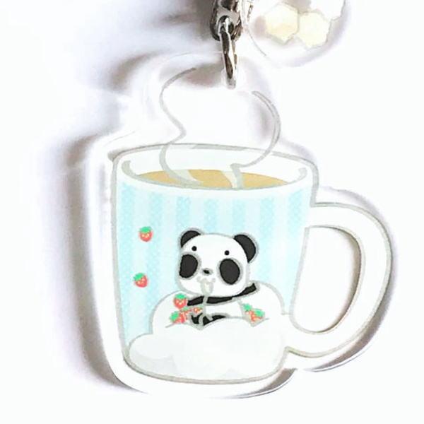キーホルダー パンダのキーホルダー イチゴ雨 パンダ キャラクター BASE リンク