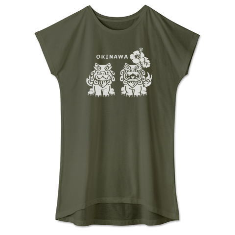 沖縄 OKINAWA ハイビスカス シーサー かわいい Tシャツ 半袖 Tシャツトリニティ リンク レディス ワンピース