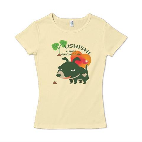 犬 ウシシ ガイコッチャ 愛してガイコッチャ かわいい Tシャツ 半袖 レディース Tシャツトリニティ リンク