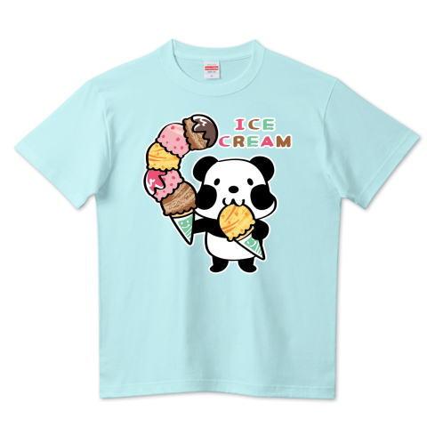 パンダ アイス アイスクリーム 大盛 ズレぱんだちゃん  かわいい Tシャツ 半袖 Tシャツトリニティ リンク
