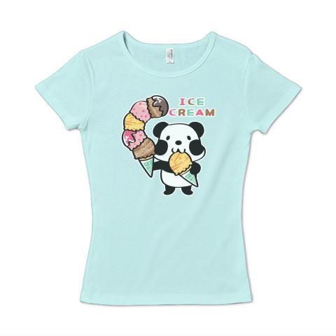 パンダ ズレぱんだ アイス大盛 アイス イラスト かわいい Tシャツ 半袖 レディース Tシャツトリニティ リンク