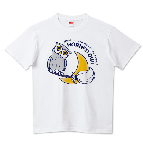 HORNED OWL フクロウ ミミズク 鳥 月夜 魔法のホウキ  かわいい Tシャツ 半袖 Tシャツトリニティ リンク