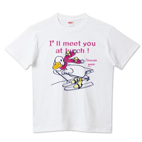 あひる ダック スキー ヒヨコ 冬 イラスト かわいい Tシャツ 半袖 Tシャツトリニティ リンク