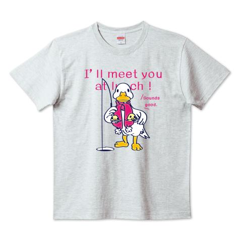 あひる ダック 魚釣り 釣り ワカサギ ヒヨコ 冬 イラスト かわいい Tシャツ 半袖 Tシャツトリニティ リンク