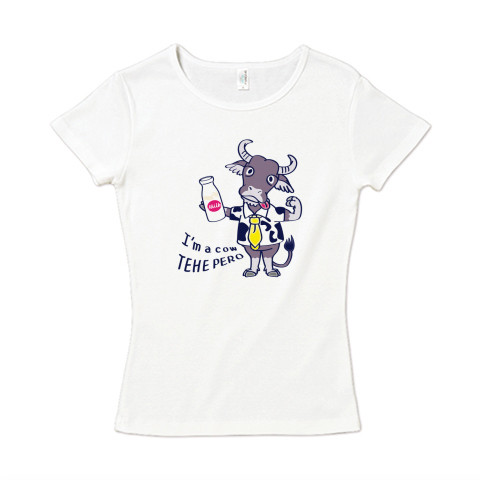 CT77 水牛 牛 丑年 挨拶 ミルク 牛乳 冬 イラスト かわいい Tシャツ 半袖 レディース Tシャツトリニティ リンク