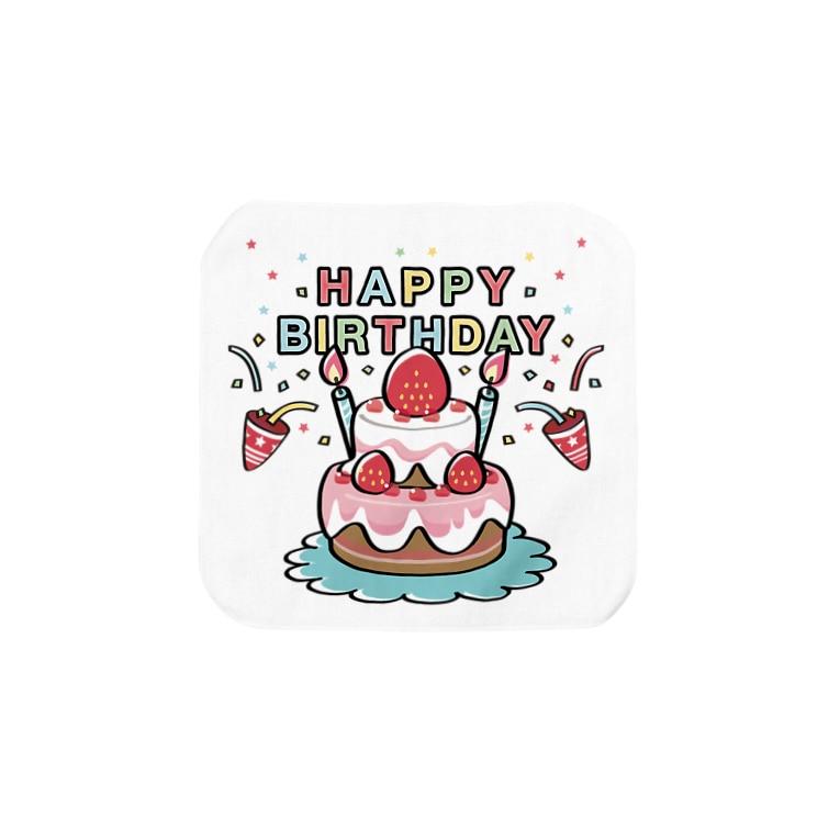 日用品 タオル ハンカチ タオルハンカチ HAPPY BRTHDAY 誕生日 お祝い suzuri リンク