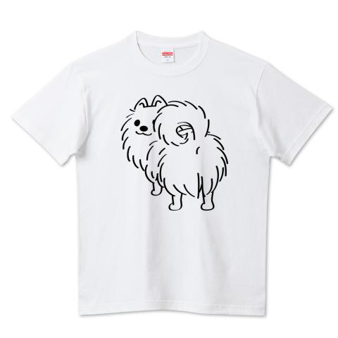 CT83 犬 ポメ ポメラニアン pome お尻 後ろ姿 イラスト かわいい Tシャツ 半袖 Tシャツトリニティ リンク