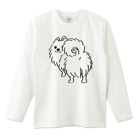 CT83 犬 ポメ ポメラニアン pome お尻 後ろ姿 イラスト かわいい Tシャツ 長袖 Tシャツトリニティ リンク