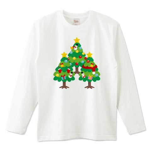 CT89 漢字 森 森さんさん 名前 日本 文字 木 クリスマス クリスマスツリー イラスト Tシャツ 長袖 Tシャツトリニティ リンク