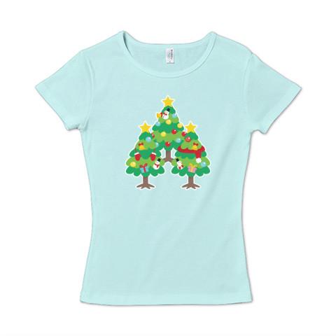 CT89 漢字 森 森さん 名前 日本 文字 木 クリスマス クリスマスツリー イラスト Tシャツ 半袖 レディース Tシャツトリニティ リンク