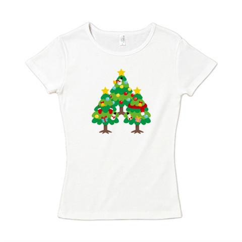 CT89 漢字 森 森さんさん 名前 日本 文字 木 クリスマス クリスマスツリー イラスト Tシャツ 半袖 レディース Tシャツトリニティ リンク
