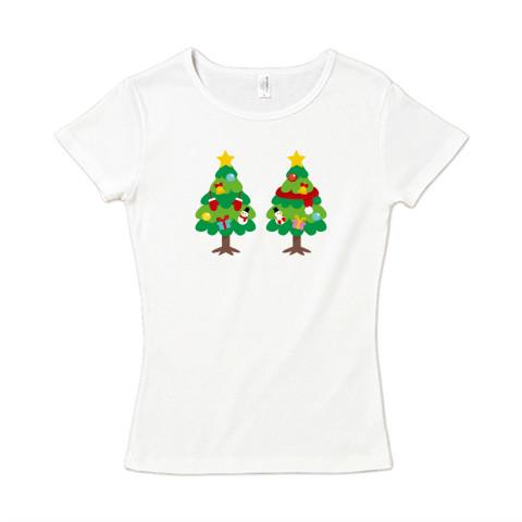 CT88 漢字 林 林さん 名前 日本 文字 木 クリスマス クリスマスツリー イラスト Tシャツ 半袖 半袖 レディース Tシャツトリニティ リンク
