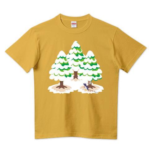 CT89 漢字 森 森さん 名前 日本 文字 木 冬 雪景色 雪 イラスト Tシャツ 半袖 Tシャツトリニティ リンク