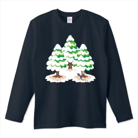 CT89 漢字 森 森さん 名前 日本 文字 木 冬 雪景色 雪 イラスト Tシャツ 長袖 Tシャツトリニティ リンク