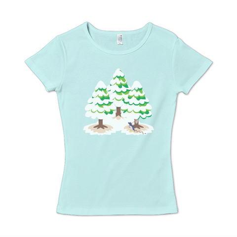 CT89 漢字 森 森さん 名前 日本 文字 木 冬 雪景色 雪 イラスト Tシャツ 半袖 レディース Tシャツトリニティ リンク